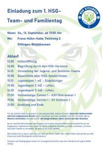 Einladung zum 1. HSG-Team- und Familientag am So., den 13.9., ab 14:00 Uhr